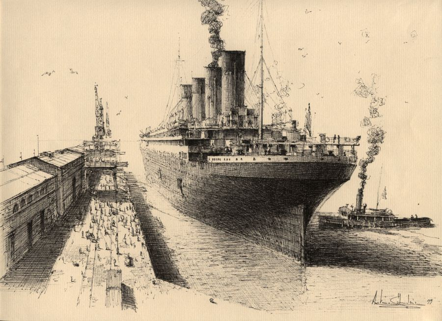rms titanic dessin lencre 24x32cm - Dessin Titanic